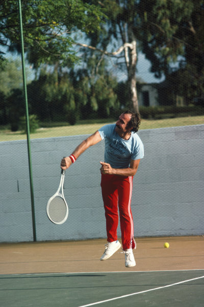 Clay Regazzoni plays tennis, portrait. 
