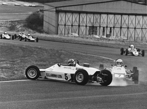 Thruxton, England. 8th March 1981. Ayrton Senna da Silva (Van Diemen RF81), 3rd position, locks up to avoid a spinning car, action. World Copyright: LAT Photographic. Ref:  B/W Print