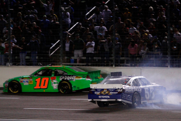 2-4 November, 2012, Fort Worth, Texas USA Mark Martin spins and Danica Patrick misses him.(c)2012, Lesley Ann Miller LAT Photo USA