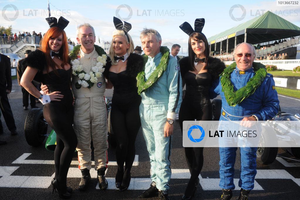 Goodwood Estate, West Sussex, 15th - 18th September 2011 Glover Trophy L to R: Andy Middlehurst, Paul Drayson and Alan Baillie, with the bunny girls, portrait.  World Copyright:Jeff Bloxham/LAT Photographic Ref: Digital Image