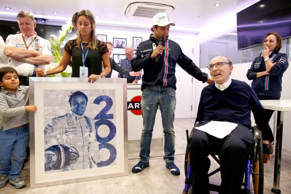 Silverstone, Northamptonshire, England. Saturday 5 July 2014. Felipe Massa, Williams F1, celebrates his 200th Grand Prix start with his family, team and Sir Frank Williams, Team Principal, Williams F1. World Copyright: Glenn Dunbar/LAT Photographic. ref: Digital Image _89P2227