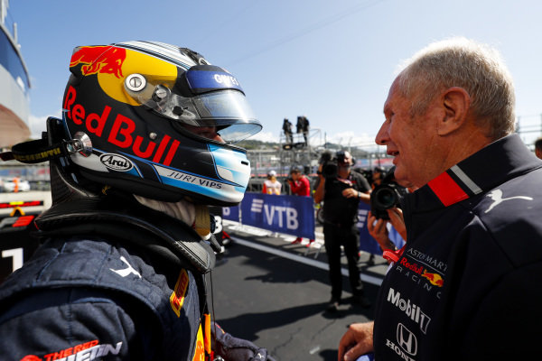 SOCHI AUTODROM, RUSSIAN FEDERATION - SEPTEMBER 29: Juri Vips (EST, Hitech Grand Prix) and Helmut Marko, Consultant, Red Bull Racing during the Sochi at Sochi Autodrom on September 29, 2019 in Sochi Autodrom, Russian Federation. (Photo by Carl Bingham / LAT Images / FIA F3 Championship)