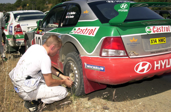 2001 World Rally ChampionshipCyprus Rally June 1-3, 2001Alister McRae checks his tyre pressures prior to Stage 15Photo: Ralph Hardwick/LAT