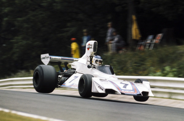 Carlos Reutemann, Brabham BT44B Ford gets all four wheels off the track.