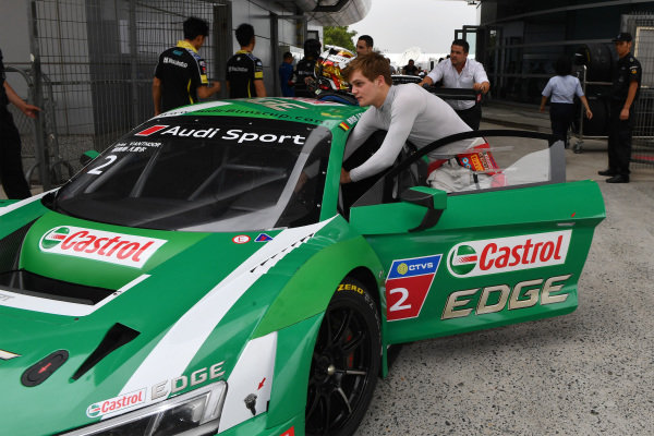 Dries Vanthoor (B) Castrol Racing Team Pushes his own in the Pitlane before Race One at Audi R8 LMS Cup, Rd7 and Rd8, Shanghai, China, 8-10 September 2017.