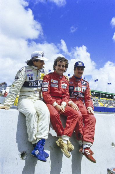 Championship contenders Nelson Piquet, Alain Prost and Nigel Mansell.