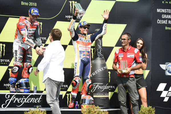 Podium: race winner Andrea Dovizioso, Ducati Team, third place Marc Marquez, Repsol Honda Team.