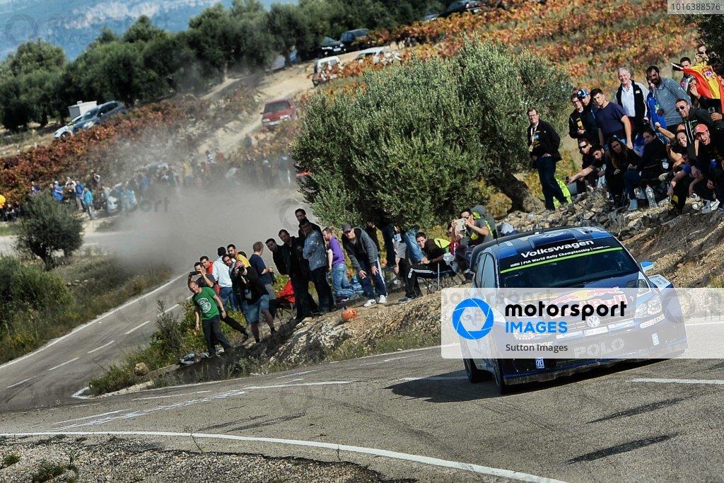 Sebastien Ogier (FRA) / Julien Ingrassia (FRA), Volkswagen Polo R WRC at FIA World Rally Championship, Rd12, RAAC Rally de Espana, Day Three, Costa Daurada, Catalunya, Spain, 25 October 2015.