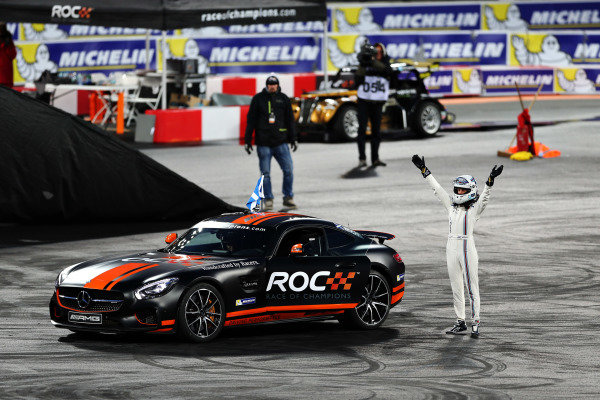 Susie Wolff (GBR) next to her Mercedes-AMG GT S after losing in her final race at Race of Champions, Queen Elizabeth Olympic Park, London, England, 20-21 November 2015.