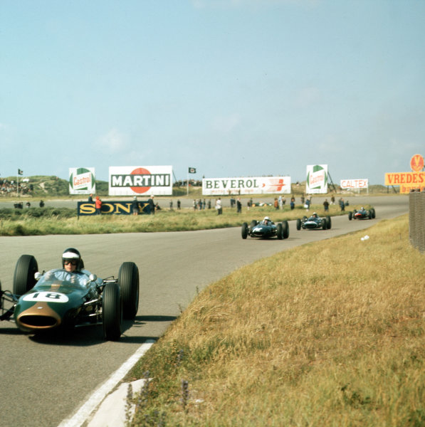 Zandvoort, Holland.21-23 May 1963.Dan Gurney (Brabham BT7 Climax) leads Richie Ginther (BRM P57). They finished in 2nd and 5th positions respectively.Ref-3/0982.World Copyright - LAT Photographic