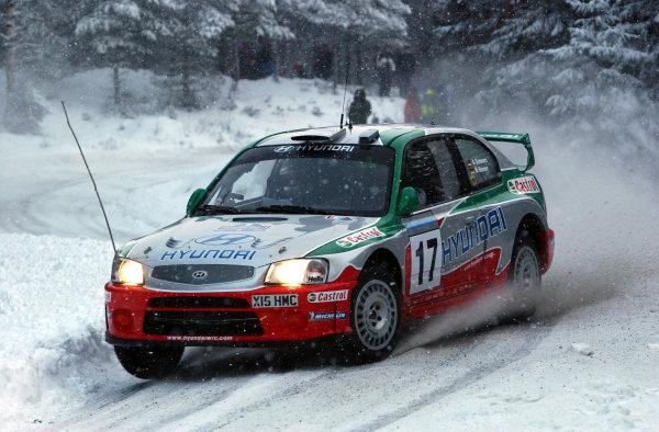 2002 World Rally ChampionshipUddeholm Swedish Rally, 1st-3rd February 2002.Armin Schwarz during the shakedown.Photo: Ralph Hardwick/LAT