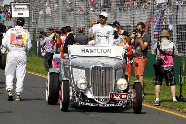 Lewis Hamilton (GBR) Mercedes AMG F1 Drivers parade at Formula One World Championship, Rd1, Australian Grand Prix, Race, Albert Park, Melbourne, Australia, Sunday 26 March 2017.