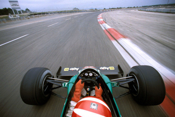 View from the roll bar of Eddie Cheever's Alfa Romeo as he drives in a pre-season test at Paul Ricard.