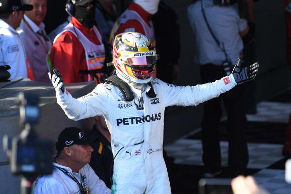 Second placed Lewis Hamilton (GBR) Mercedes AMG F1 celebrates in parc ferme at Formula One World Championship, Rd1, Australian Grand Prix, Race, Albert Park, Melbourne, Australia, Sunday 26 March 2017.