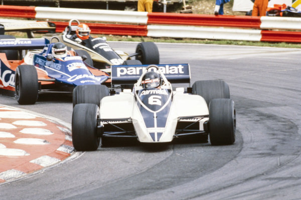 Hector Rebaque, Brabham BT49 Ford, leads Jean-Pierre Jarier, Tyrrell 010 Ford, and Rupert Keegan, Williams FW07 Ford.