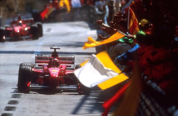 1999 Monaco Grand Prix.Monte Carlo, Monaco.13-16 May 1999.Michael Schumacher (Ferrari F399) celebrates his 1st position.Ref-99 MON 01World Copyright - Charles Coates/LAT Photographic.