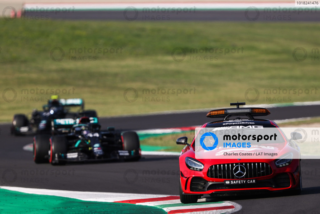 The Safety Car leads Lewis Hamilton, Mercedes F1 W11 EQ Performance, and Valtteri Bottas, Mercedes F1 W11 EQ Performance