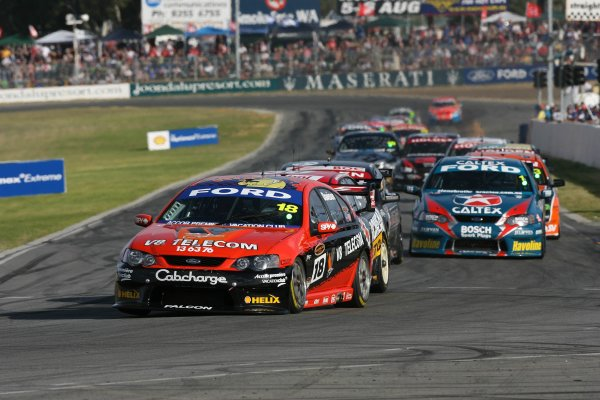 2006 Australian V8 Supercars Round 3, Barbagallo Raceway, Wanneroo 12th - 14th May 2006 Will Davison (V8 Telecom Ford Falcon BA) leads a pack of cars.Action.  World Copyright: Mark Horsburgh/LAT Photographic ref: Digital Image Only
