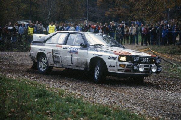 1982 World Rally Championship.Lombard RAC Rally. 21-25 November 1982.Hannu Mikkola/Arne Hertz (Audi Quattro), 1st position.World Copyright: LAT PhotographicRef: 35mm transparency 82RALLY09