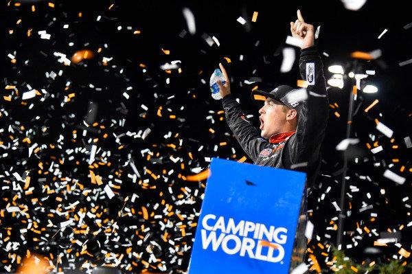 #18: Noah Gragson, Kyle Busch Motorsports, Toyota Tundra Safelite AutoGlass celebrates his win