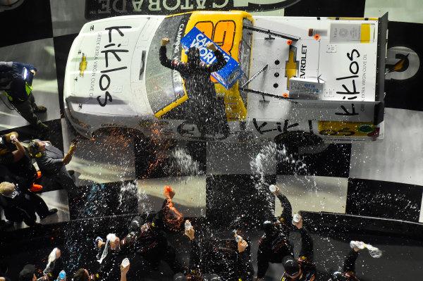 2017 Camping World Truck - NextEra Energy Resources 250 Daytona International Speedway, Daytona Beach, FL USA Friday 24 February 2017 Kaz Grala celebrates his win in Victory Lane World Copyright: Nigel Kinrade/LAT Images ref: Digital Image 17DAY2nk09938