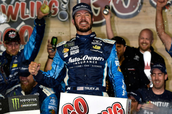 Monster Energy NASCAR Cup Series Go Bowling 400 Kansas Speedway, Kansas City, KS USA Saturday 13 May 2017 Martin Truex Jr, Furniture Row Racing, Auto-Owners Insurance Toyota Camry celebrates is win in Victory Lane World Copyright: Nigel Kinrade LAT Images ref: Digital Image 17KAN1nk09959
