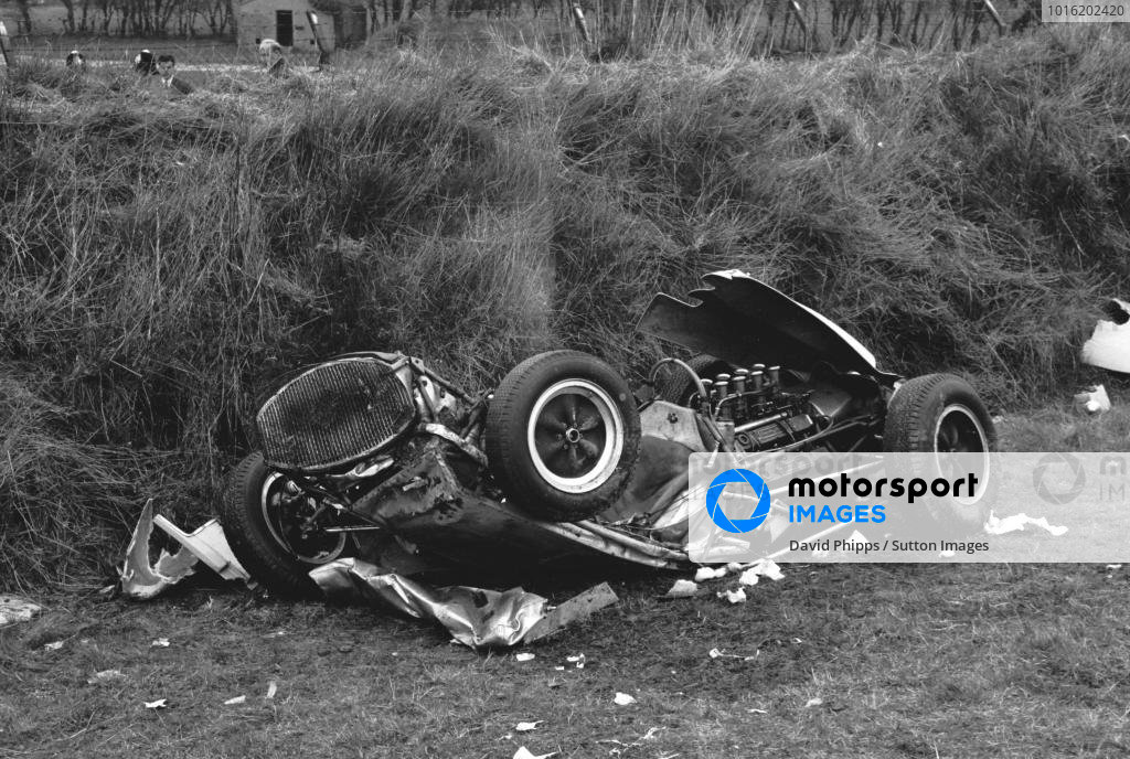 Remains of the Lotus 18 Climax driven by Stirling Moss (GBR), the accident that ended his career at St Marys corner Goodwood Easter Monday F1 races, Glover Trophy, 23rd April 1962