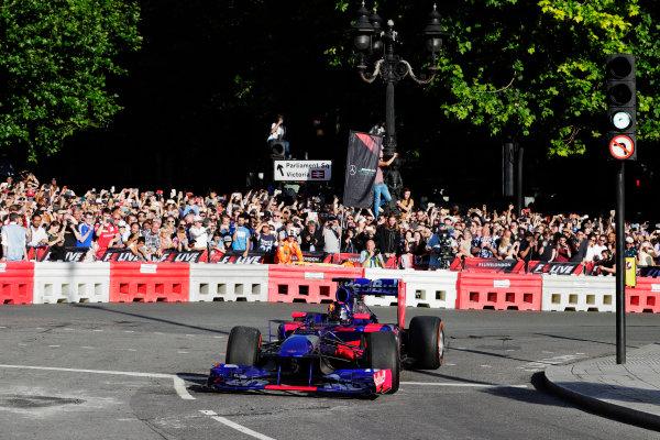 London, United Kingdom.  Wednesday 12 July 2017. Carlos Sainz Jr, Toro Rosso STR12 Renault. World Copyright: Zak Mauger/LAT Images  ref: Digital Image _54I2325