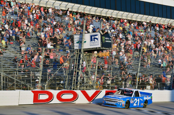 NASCAR Camping World Truck Series Bar Harbor 200 Dover International Speedway, Dover, DE USA Friday 2 June 2017 Johnny Sauter, Allegiant Airlines Chevrolet Silverado takes the checkered flag and the win World Copyright: Nigel Kinrade LAT Images ref: Digital Image 17DOV1nk06807