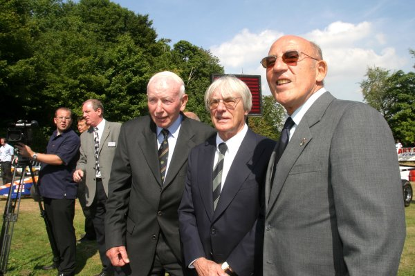 2003 Buckmore Park Clubhouse LaunchBukmore Park, England. 3rd September 2003.F1 supremo Bernie Ecclestone, opens the circuits new -1 25m clubhouse, alongside Sir Stirling Moss ans John Sutees.World Copyright: Gary Hawkins/LAT Photographicref: Digital Image Only