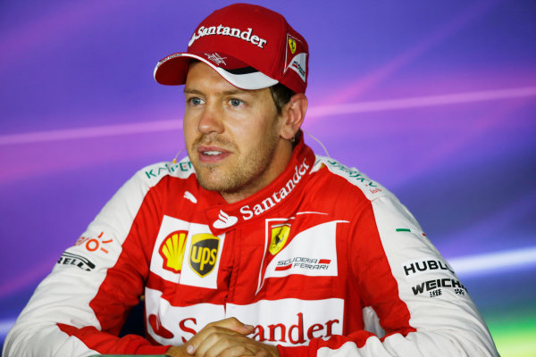 Hungaroring, Budapest, Hungary. Saturday 25 July 2015. Sebastian Vettel, Ferrari, in the post qualifying Press Conference. World Copyright: Alastair Staley/LAT Photographic ref: Digital Image _79P8693