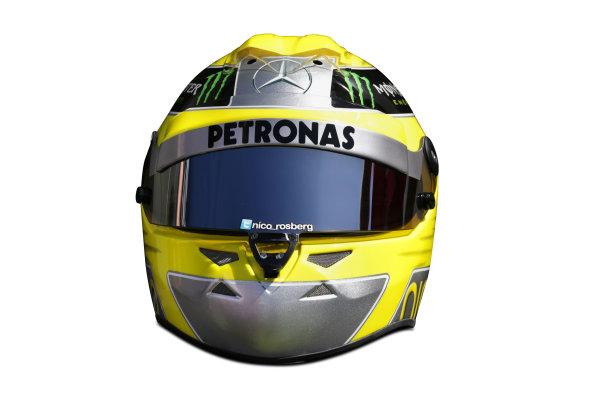 Albert Park, Melboune 14th March 2013 The helmet of Nico Rosberg, Mercedes AMG. World Copyright: LAT Photographic ref: Digital Image DKAL8829