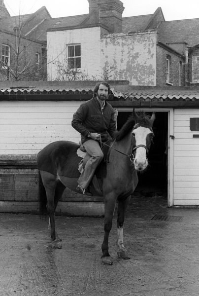 John Watson (GBR) on a horse near his home.Lifestyle Feature, 1975 Formula One World Championship.