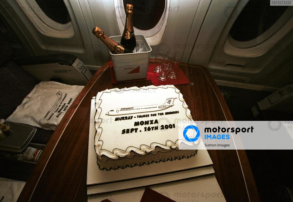 European Aviation and Minardi put on a farewell party for TV Commentator Murray Walker after he commentated on his final European Grand Prix.  Italian Grand Prix, Monza, 16 September 2001