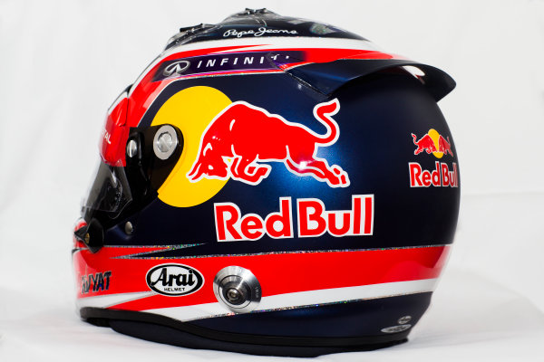 Circuito de Jerez, Jerez, Spain. Tuesday 3 February 2015. Helmet of Daniil Kvyat, Red Bull Racing.  World Copyright: Red Bull Racing (Copyright Free FOR EDITORIAL USE ONLY) ref: Digital Image 2015_RED_BULL_HELMET_09
