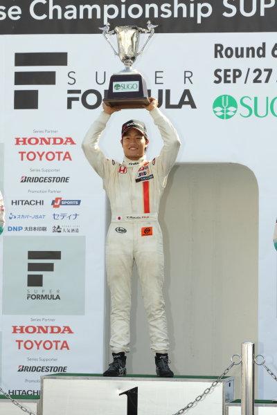 2014 All-Japan F3 Championship. Sugo, Japan. 27th - 28th September 2014. Rd 6. Race 2 - Winner Nobuharu Matsushita ( #7 HFDP RACING ) podium, portrait World Copyright: Yasushi Ishihara / LAT Photographic. Ref:  2014JF3_Rd12&13_009.JPG