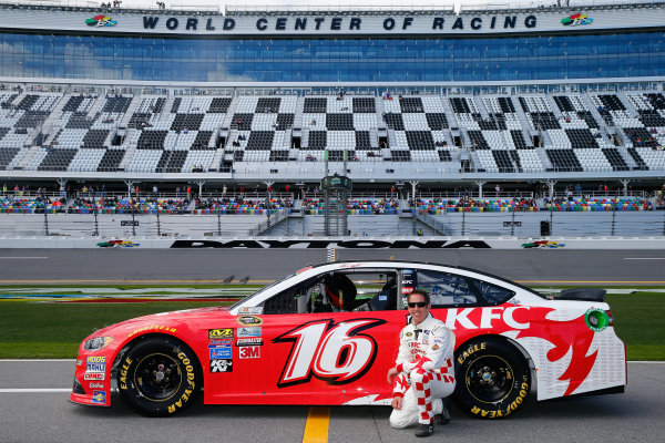 13-21 February, 2016, Daytona Beach, Florida USA   Greg Biffle, driver of the #16 KFC Nashville Hot Ford, poses with his car after qualifying for the NASCAR Sprint Cup Series Daytona 500 at Daytona International Speedway on February 14, 2016 in Daytona Beach, Florida.   LAT Photo USA via NASCAR via Getty Images