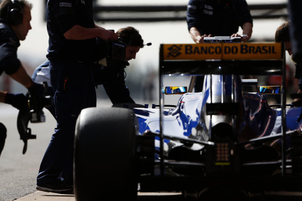 Circuit de Catalunya, Barcelona, Spain Monday 22 February 2016. Marcus Ericsson, Sauber C35 Ferrari, in the pit lane. World Copyright: Sam Bloxham/LAT Photographic ref: Digital Image _SBL4690