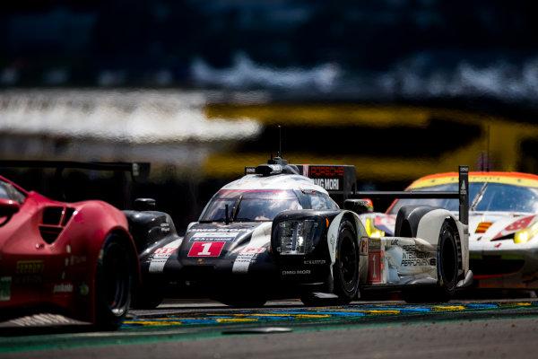 2016 Le Mans 24 Hours. Circuit de la Sarthe, Le Mans, France. Saturday 18 June 2016. Porsche Team / Porsche 919 Hybrid - Timo Bernhard (DEU), Mark Webber (AUS), Brendon Hartley (NZL). World Copyright: Zak Mauger/LAT Photographic ref: Digital Image _L0U6424
