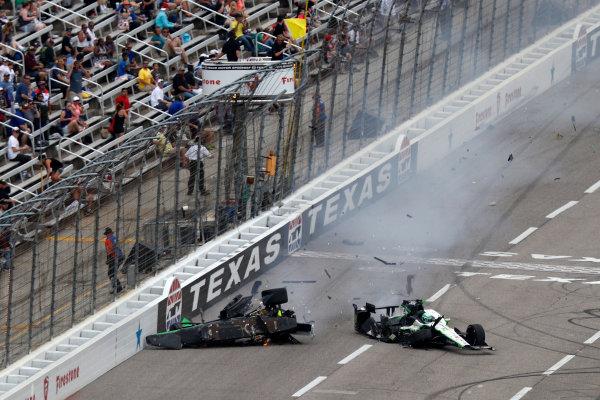 10-11 June, 2016, Fort Worth, Texas, USA , Conor Daly, Josef Newgarden, crash ?2016, Michael L. Levitt LAT Photo USA
