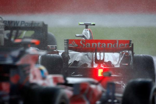 Silverstone, Northamptonshire, UK.6th July 2008.Heikki Kovalainen, McLaren MP4-23 Mercedes, 5th position, leads Sebastien Bourdais, Toro Rosso STR03 Ferrari, 11th position. Action. World Copyright: Charles Coates/LAT Photographic.ref: Digital Image _26Y4994