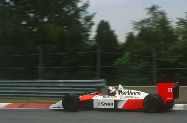 Montreal, Canada. 10th - 12th June 1988. Alain Prost (McLaren MP4/4-Honda), 2nd position, action.  World Copyright: LAT Photographic. Ref: CC CAN 1