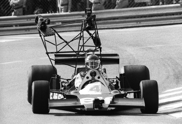 Race winner Patrick Depailler (FRA) drives a modified Tyrrell 008 with extensive rigging for onboard camera footage being filmed at most of the circuits that season for a film. Monaco Grand Prix, Rd 5, Monte Carlo, 7 May 1978.