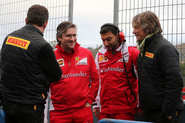 (L to R): Mario Isola (ITA) Pirelli Sporting Director, Pat Fry (GBR) Ferrari Technical Director, Daniele Giordano (ITA) Ferrari Tyre Analyst and Pat Fry (GBR) Ferrari Technical Director and Max Damiani (ITA) Pirelli. Formula One Testing, Jerez, Spain, Day Two, Wednesday 29 January 2014.