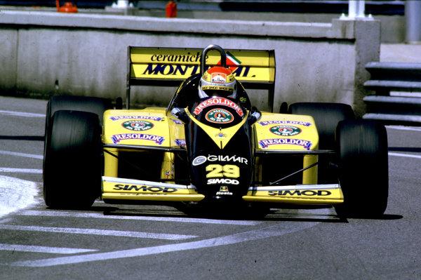 Monte Carlo, Monaco. 16th - 19th May 1985.  Pierluigi Martini (Minardi M185 Motori Moderni). He failed to qualify.  Ref: 85MON21. World Copyright - LAT Photographic
