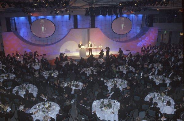 1997 Autosport Awards.Grosvenor House Hotel, Park Lane, London, Great Britain. 7 December 1997.Steve Rider interviews Murray Walker.World Copyright: Dixon/LAT PhotographicRef: 35mm transparency