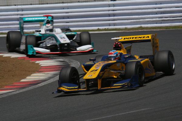 2014 Super Formula Series. Fuji, Japan. 17th - 18th May 2014. Rd 2. Race 1 - 3rd position Loic Duval ( #8 Team KYGNUS SUNOCO SF14 ) action World Copyright: Yasushi Ishihara / LAT Photographic. Ref: 2014SF_Rd2_012.JPG