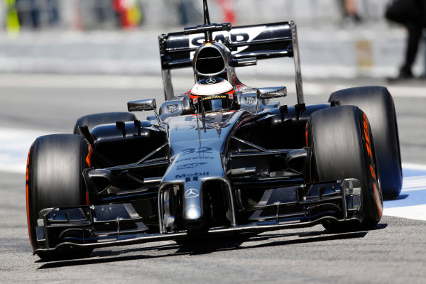 Circuit de Catalunya, Barcelona, Spain. Wednesday 14 May 2014. Stoffel Vandoorne, McLaren MP4-29 Mercedes. World Copyright: Sam Bloxham/LAT Photographic. ref: Digital Image _SBL0362