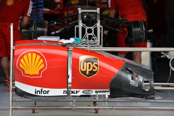 Ferrari F138 bodywork. Formula One World Championship, Rd4, Bahrain Grand Prix Preparations, Bahrain International Circuit, Sakhir, Bahrain, Thursday 18 April 2013.