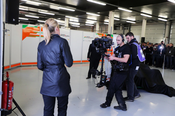 The presentation of the Force India VJM06 with Rachel Brooks (GBR) Sky TV. Force India VJM06 Launch, Silverstone, England, 1 February 2013.